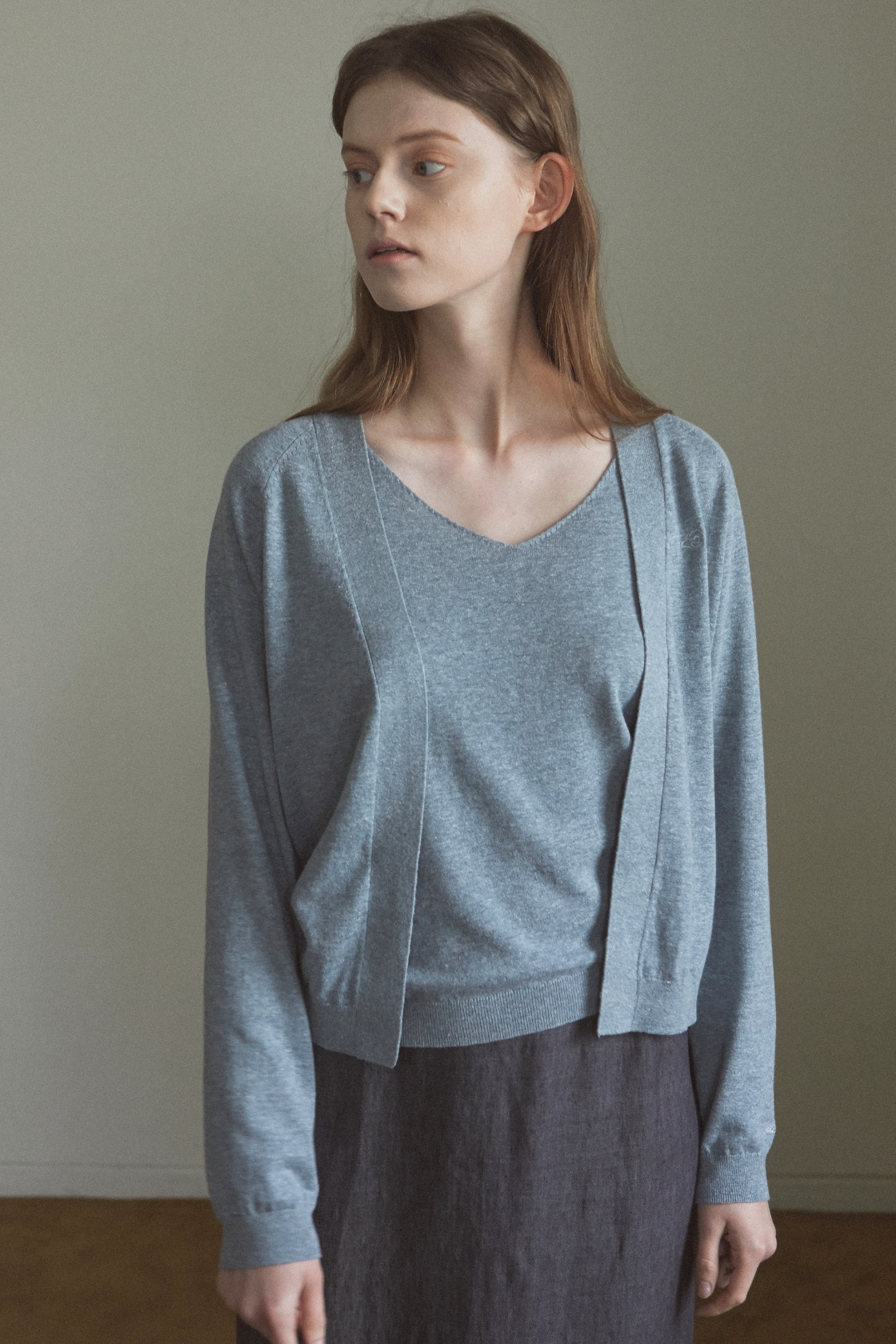 Smooth land linen cardigan_Relaxed Blue